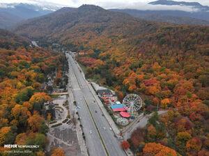 تصاویر هوایی جادههای پاییزی جنگلهای هیرکانی