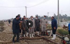 عملیات تخلیه آب بندرامام به همت سپاه خوزستان