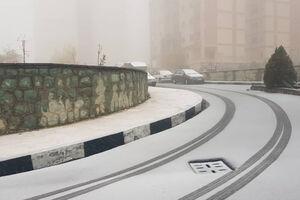 اولین بارش برف پاییزی در تهران