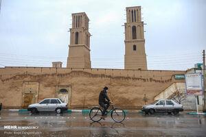 عکس/باران پاییزی در نخستین شهر خشتی جهان