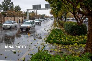 باران برگ ریز پاییزی در قم