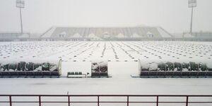 برف روبی در ورزشگاه خانگی آلومینیوم +عکس