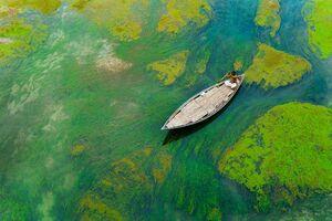 تصویر هوایی زیبا از قایقران بنگلادشی