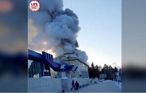 فیلم/ آتشسوزی بزرگ در فرودگاه مرزی روسیه با چین