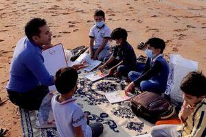 عکس/ کلاس درس در ساحل خلیج فارس
