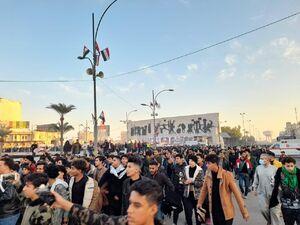فیلم/ شعارهای ضدآمریکایی و ضداسرائیلی در تجمع بغداد