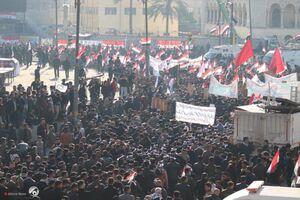 راهپیمایی و تجمع مردم عراق برای سالگرد شهادت فرماندهان مقاومت +فیلم و عکس