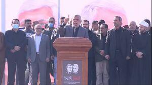 عکس/ سخنرانی العامری در سالگرد شهادت سرداران مقاومت