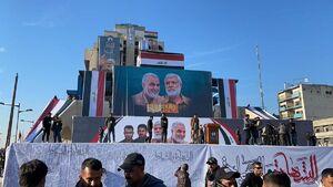 حضور هزاران عراقی در سالگرد سردار سلیمانی و ابومهدی المهندس+عکس