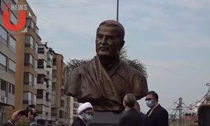 رونمایی از مجسمه سردار دلها سپهبد شهید حاج قاسم سلیمانی در ضاحیه جنوبی بیروت لبنان