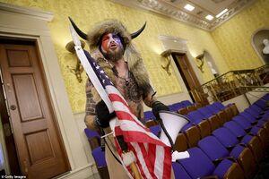 عکس/ ظاهر عجیب یکی از حمله کنندگان به مجلس سنا