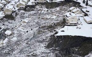 نمای هوایی از رانش زمین در نروژ