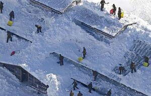 عکس/ مدفون شدن مدرسه ژاپنی زیر برف