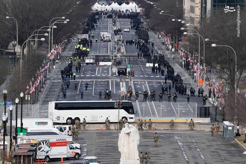 تصویر هوایی از حضور پرتعداد نیروهای امنیتی در واشنگتن
