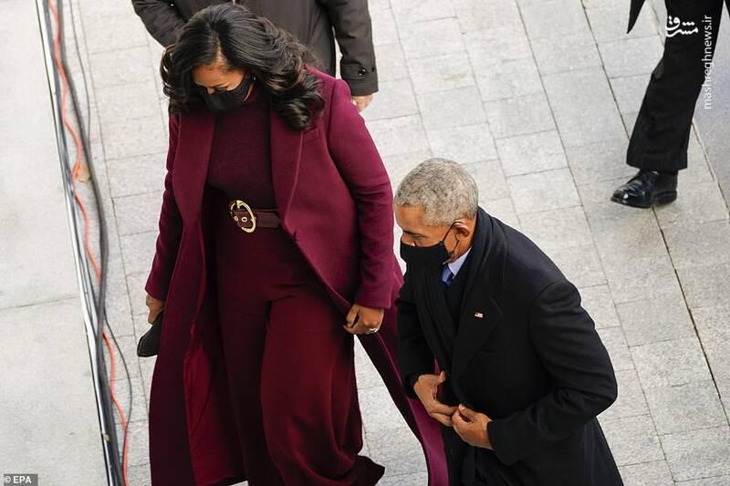 """""""باراک اوباما"""" رئیسجمهور سابق و """"میشل اوباما"""" بانوی گذشته کاخ سفید در حال ورود به محل برگزاری مراسم تحلیف """"جو بایدن"""""""