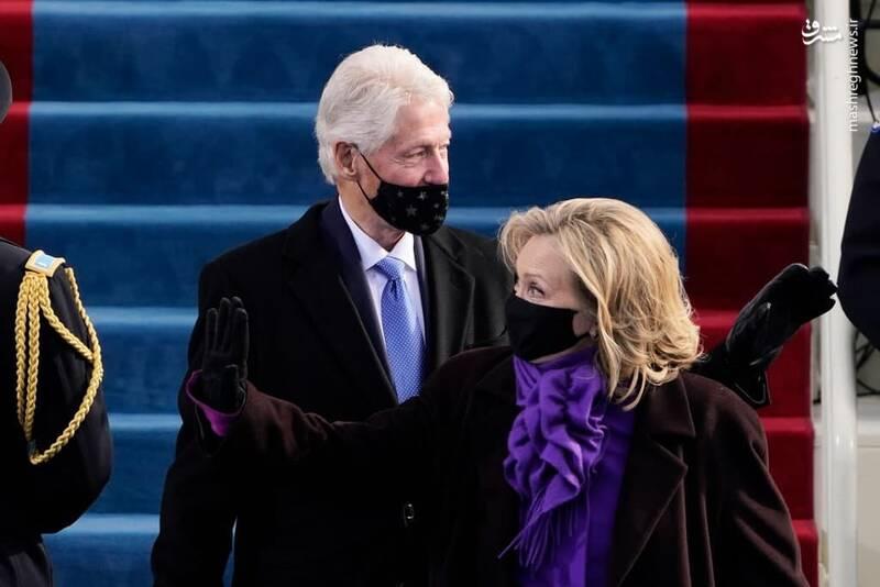 ورود هیلاری و بیل کلینتون به کنگره آمریکا برای شرکت در تحلیف جو بایدن