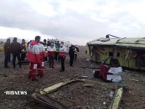 عکس/ واژگونی مرگبار اتوبوس در گرمسار