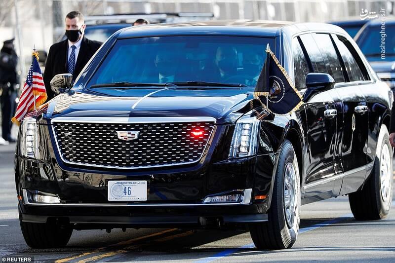 خودرو جوبایدن هنگام ورود به مراسم تحلیف