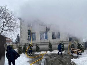 عکس/ آتشسوزی خانه سالمندان در شرق اوکراین