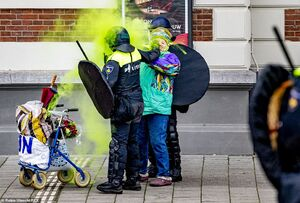 عکس/ نحوه برخورد پلیس هلند با یک زن معترض