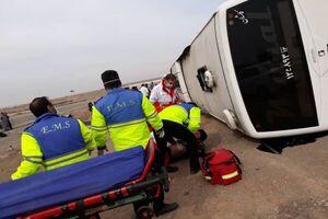 اتوبوس تهران – کاشان واژگون شد / مصدومیت ۴ مسافر