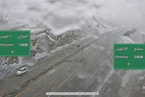 عکس/ برف و کولاک در جاده سنندج