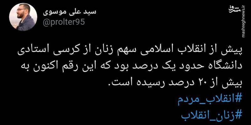 سهم زنان از کرسی استادی دانشگاه قبل و بعد از انقلاب اسلامی