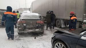 تصادف زنجیره ای 20 خودرو در روسیه