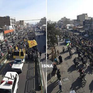 عکس/ راهپیمایی مردم تهران در جشن انقلاب از نمای بالا