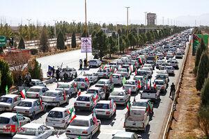 عکس/ رژه بزرگ خودرویی کرمانیها در روز ۲۲بهمن