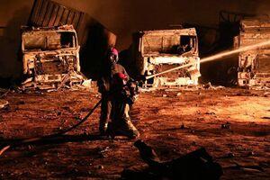 نخستین تصاویر از مهار آتشسوزی در گمرک اسلامقلعه