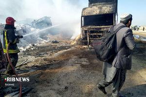 ۲۰ درصد کامیونهای گرفتار حریق در مرز افغانستان، ایرانی بودند
