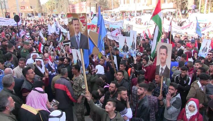 تظاهرات مردم سوریه در حمایت از بشار اسد