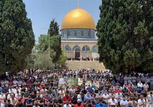 حضور هزاران فلسطینی در نمازجمعه مسجدالاقصی