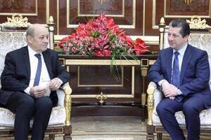 نخستوزیر اقلیم کردستان عراق با وزیر خارجه فرانسه
