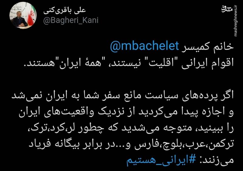"""میشل خانم اقوام ایرانی """"اقلیت"""" نیستند"""