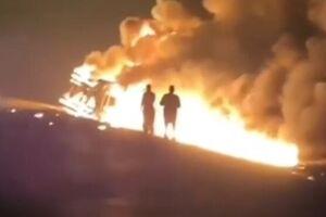 انفجار تانکر سوخت در جاده اهواز - شوش