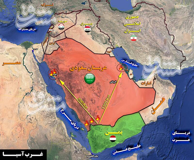 بزرگترین بندر صادرات نفت جهان غرق در آتش/ جزئیات واکنش یگان موشکی و پهپادی یمن به رژیم متجاوز سعودی + نقشه میدانی