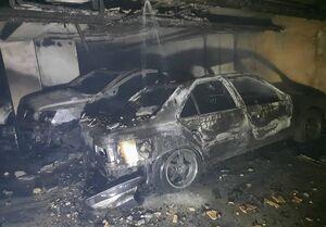 آتشسوزی شدید در ساختمان ۳۵ واحدی/ ۴ خودرو در آتش سوخت +عکس