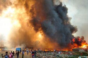 فیلم/ آتشسوزی در اردوگاه پناهندگان مسلمان روهینگیا