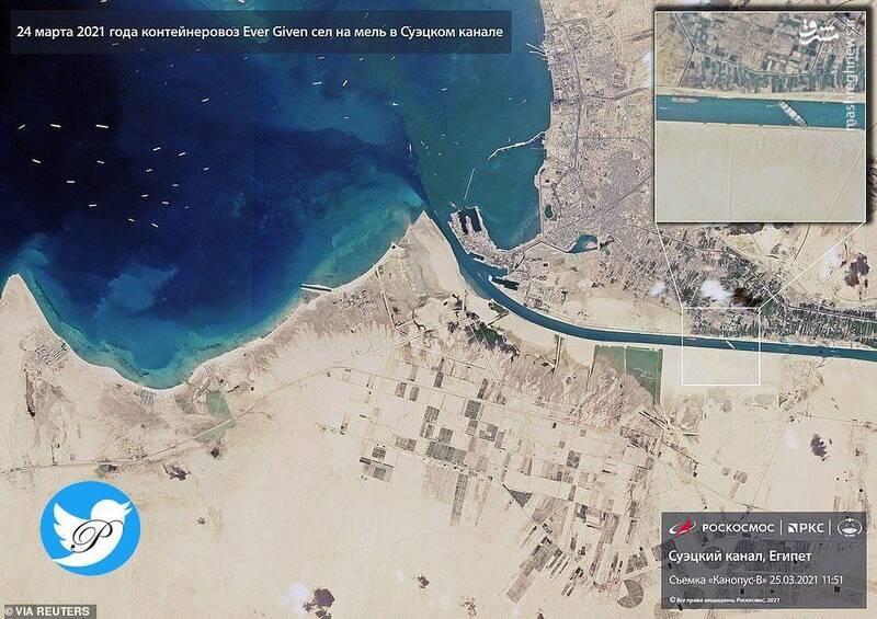 تصویر ماهوارهای از ترافیک کشتیها در کانال سوئز