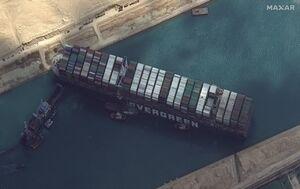 عکس/ کشتی به گل نشسته در کانال سوئز را از بالا ببینید