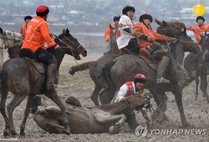 عکس/ مسابقه بُزکشی در قرقیزستان