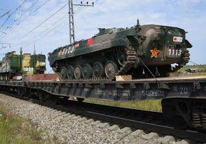 فیلم/ قطار تانکهای روسی در راه مرز اوکراین