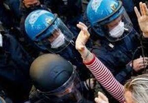 درگیری در اعتراضات علیه محدودیتهای کرونایی مقابل پارلمان ایتالیا
