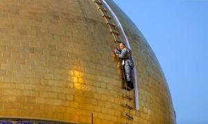 عکس/ شستوشوی گنبد حرم علوی در آستانه ماه رمضان