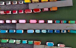 عکس/ نمای هوایی زیبا از قایقهای تفریحی در تایوان