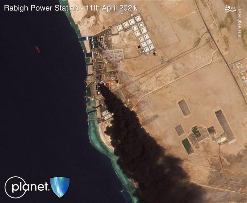 نیروگاه برق بندر جده عربستان غرق در آتش / نخستین تصویر ماهوارهای از حمله پهپادی موفق انصارالله یمن به تاسیسات الرابغ +فیلم و عکس