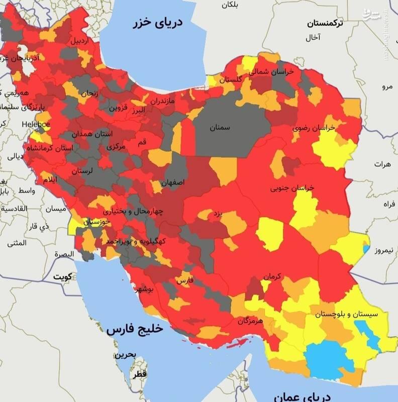 رنگ سیاه به رنگبندی کرونایی شهرهای کشور اضافه شد +نقشه