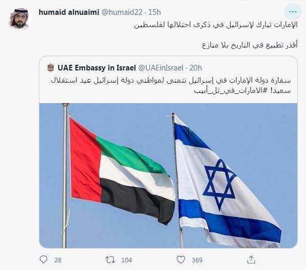 امارات سالروز اشغال فلسطین را به تلآویو تبریک گفت!